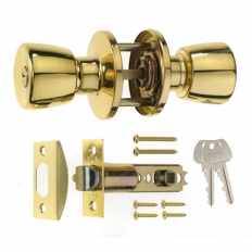 ERA 166-32 Entrance Locking Door Knob Set Brass
