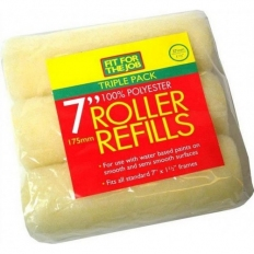 """Fit For The Job FFJ157TP Emulsion Roller Refills Polyester 7"""" x 1.5"""" Cage Pack of 3"""