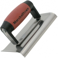 "Marshalltown M155SSD Curved Edger 6"" x 4"" Stainless Steel Durasoft Handle"