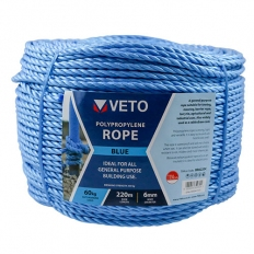 Veto BR6220C Blue Poly Rope Long Coil 6mm x 220m