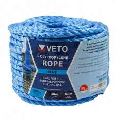 Veto BR830C Blue Poly Rope Coil 8mm x 30m