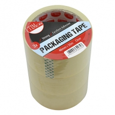 TIMco PTC Packaging Tape Clear 50m x 48mm Pack of 3