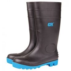 OX S242408 Safety Wellington Boot Size 8 Black With Safety Toe And Midsole