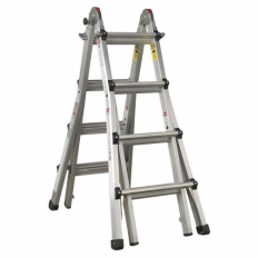 Sealey AFPL3 4-Way Aluminium Telescopic Ladder Adjustable Height EN 131