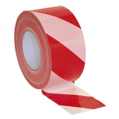Sealey BTRW Hazard Warning Barrier Tape 80mm x 100 Metre Red/White Non-Adhesive