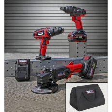 """Sealey CP20VCOMBO1 20V Cordless 13mm Hammer Drill/1/2""""Sq Drive Impact Wrench/115mm Angle Grinder Combo Kit"""