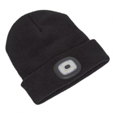 Sealey LED185 Beanie Hat 4 SMD LED USB Rechargeable
