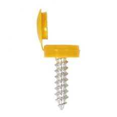 Sealey NPY50 Number Plate Screw & Flip Cap 4.2 x 19mm Yellow Pack of 50