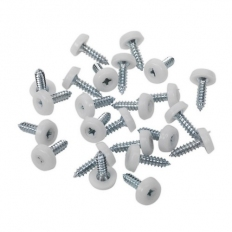 Sealey PTNP1 Number Plate Screw Plastic Enclosed Head 4.8 x 18mm White Pack of 50