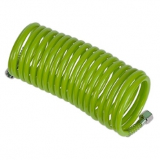"""Sealey SA335G PE Coiled Air Hose 5m x Ø5mm with 1/4""""BSP Unions - Green"""
