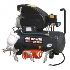 Sealey SAC2420EPK Compressor 24 Litre Direct Drive 2hp with 4pc Air Accessory Kit