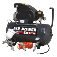 Sealey SAC5020EPK Compressor 50 Litre Direct Drive 2hp with 4pc Air Accessory Kit