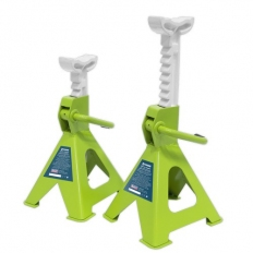 Sealey VS2002HV Axle Stands (Pair) 2tonne Capacity per Stand Ratchet Type - Hi-Vis Green