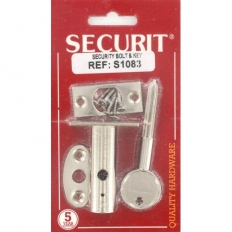 Securit S1083 Security Bolt And Key Nickel Plated Pack Of Pack Of 1