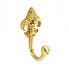 Securit S6549 Brass Tieback Hook Fleur De Lys Ball End 60mm Pack Of 2