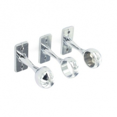 Securit S5553 1 Centre And 2 End Brackets Chrome Plated 19mm Pack Of 1 + 2