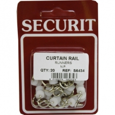 Securit S6434 Curtain Rail Runners Pack Of 20