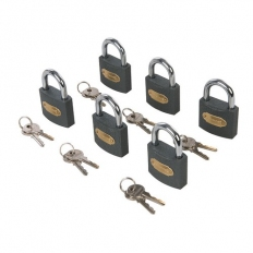 Silverline 407238 Iron Padlock Keyed Alike 6pk 50mm