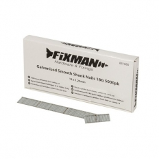 Fixman 861880 Galvanised Smooth Shank Nails 18G 12 x 1.25mm Pack of 5000