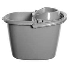 TML THW33-S Plastic Mop Bucket with Wringer Silver 15 Litre