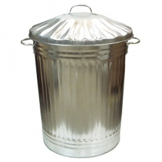 Metal Galvanised Dust Bin and Lid For Rubbish and Garden Waste 90 Litre UK Made