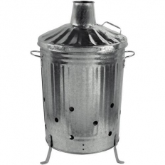 Metal Galvanised Garden Incinerator and Lid Fire Bin 90 Litre UK Made