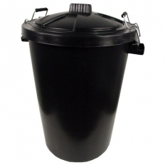 Black Plastic Dustbin and Metal Clip Lid 85 Litre Heavy Duty