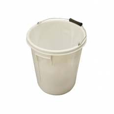 Plasterers Mixing Bucket 28 Litre White Heavy Duty With Metal Handle