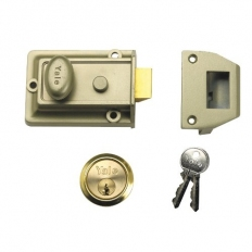 Yale P-77-ENB-PB-60 Traditional Style Nightlatch 60mm Brass Cylinder Grey Case Pre Packed